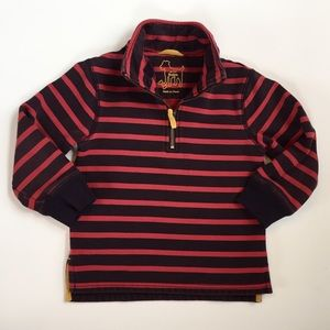 Mini Boden Quarter Zip Striped Pullover 3-4 Years